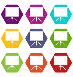 blank projection screen icon set color hexahedron vector image