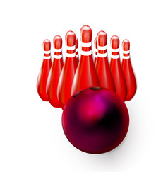 Bowling ball red 3d and pins skittles realistic vector