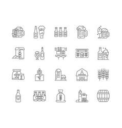 brewery line icons signs set outline vector image