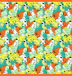 bright background with fantastic creatures vector image