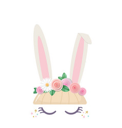 Bunny cute cartoon character for birthday baby vector