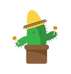 Cactus cartoon character with maracas and sambrero vector