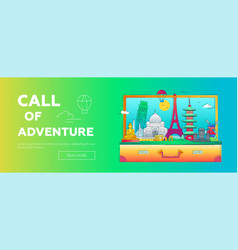 call of adventure - line travel web banner vector image