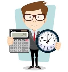 Cartoon businessman with a big calculator and vector