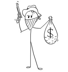 Cartoon masked cowboy robber with bag of vector