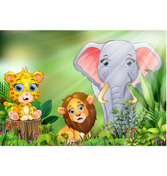 cartoon of the nature scene with different animals vector image
