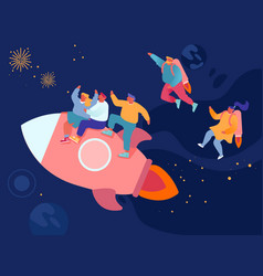 Cheerful business men and women flying in space vector