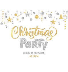 christmas party poster template gold and silver vector image