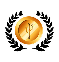 Coin with circuit electric icon vector