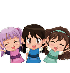 colorful set three half body cute anime tennagers vector image