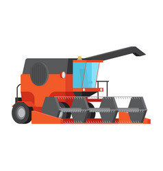 Combine harvester isolated flat vector