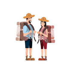 Couple traveler avatar character vector