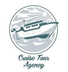 Cruise tour agency logo design with liner ship vector