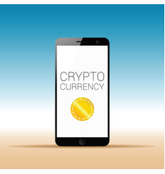 crypto currency on the mobile phone vector image