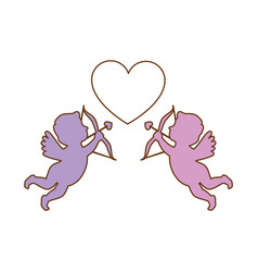 cupid angels with heart vector image