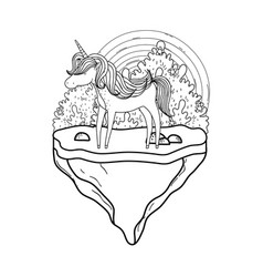 Cute unicorn with rainbow in landscape vector
