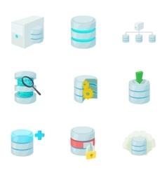 Data storage icons set cartoon style vector image