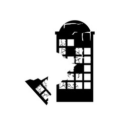 Destroyed building earthquake broken house war vector
