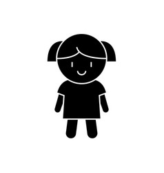 doll girl icon black sign on vector image