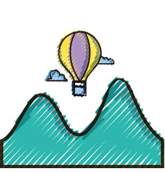 Doodle air balloon fly design with mountains and vector