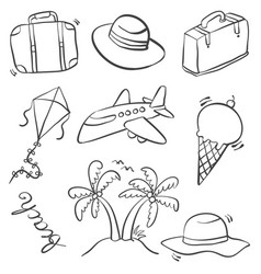 Doodle of summer equipment art vector