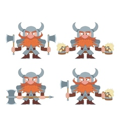 Dwarfs with beer mugs and axes set vector image