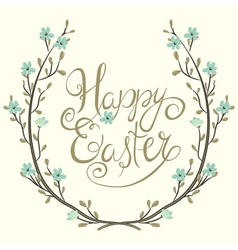easter greeting with spring branch vector image