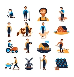 Farmers flat icons collection vector