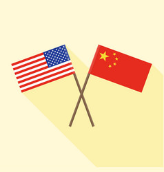 Flag china crossed with and united vector