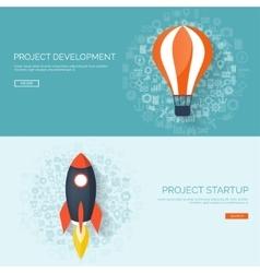 Flat rocket Project start up Space Smart vector