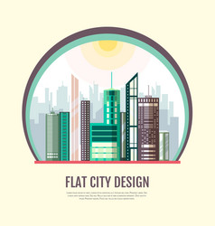 Flat style modern design of urban city landscape vector