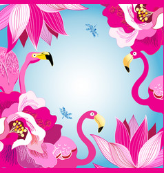 floral colorful background with flamingos vector image