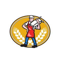 Flour Miller Carry Sack Wheat Oval vector image