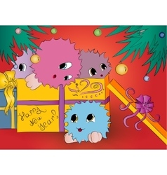 four cute monsters gift box christmas tree red vector image