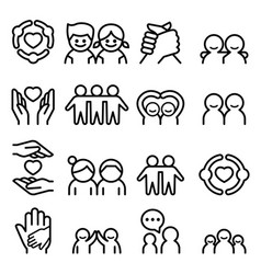 Friendship friend icon set in thin line style vector