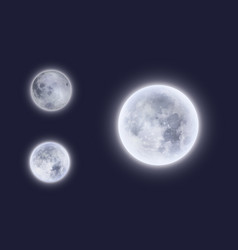 full moon in night sky with 3d detailed surface vector image