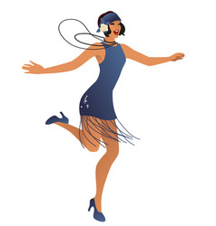 funny flapper girl wearing vintage style clothes vector image