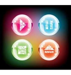 glass music button vector image