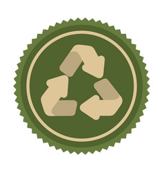 Green emblem cycle recycle icon vector