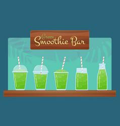 green natural detox diet smoothie set vector image