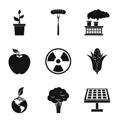 green plant icons set simple style vector image