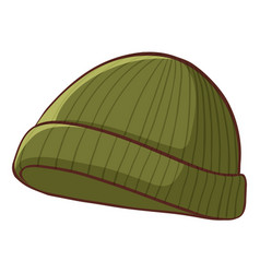 Green winter hat on white background vector