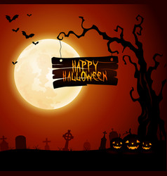 halloween graves of death skeletons and monsters vector image