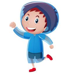 Happy boy wearing blue raincoat vector