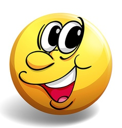 Happy face on yellow ball vector