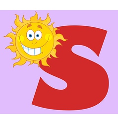 Happy Smiling Sun With Letters S vector image