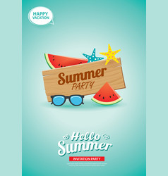 hello summer card banner with wooden background vector image