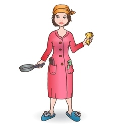 Housewomen with tool Handdraw vector