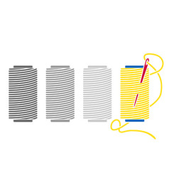 icon sewing thread on spools isolated coil vector image