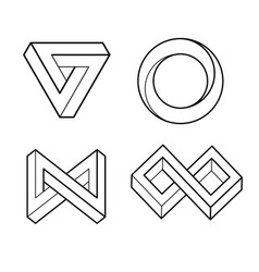 Impossible geometry shape optical illusion line vector
